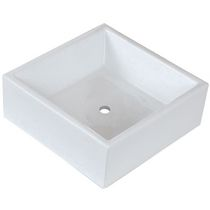 American Imaginations 15 inch width x 15 inch depth Above Counter Square Vessel In White Color For Deck/Wall Mount Faucet