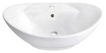 American Imaginations 23 inch width x 15 inch depth Above Counter Oval Vessel In White Color For Single Hole Faucet