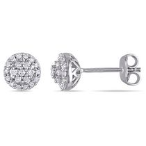 Miabella 0.25 Carat T.W. Diamond Sterling Silver Halo Stud Earrings