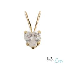Jewels 4 Ever 14kt Yellow Gold Heart Pendant set with 4 mm genuine Cubic zirconia