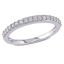 Miabella 0.25 Carat T.W. Diamond 10 K White Gold Anniversary Ring 9