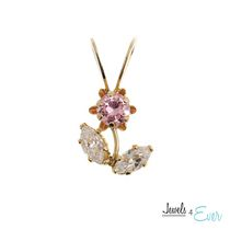 Jewels 4 Ever 10kt Yellow Gold Pink and White Cubic Zirconia Pendant
