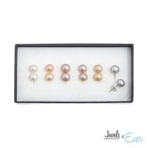 Jewels 4 Ever Set of 6 Sterling Silver Coloured Freshwater Pearl Earrings in Pastel Shades