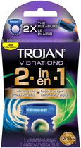 Trojan Vibrations 2-in-1 Vibrating Ring and Finger Massager