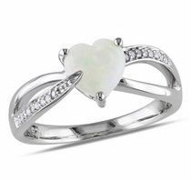0.88 Carat T.G.W. Opal and Diamond-Accent Sterling Silver Heart Ring 8.5