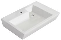American Imaginations 26 inch width x 18 inch depth Above Counter Rectangle Vessel In White Color For Single Hole Faucet