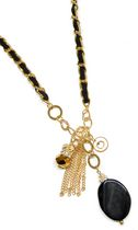 Gold Tone Long Chain with Genuine Stone in Black
