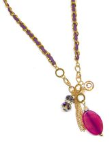 Gold Tone Long Chain with Genuine Stone in Purple