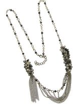 Long Crystal Necklace in Hemetite and Black