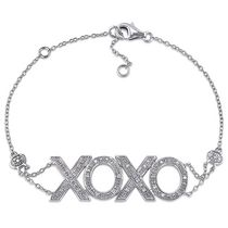 Miabella Diamond Accent Sterling Silver XOXO Chain Bracelet