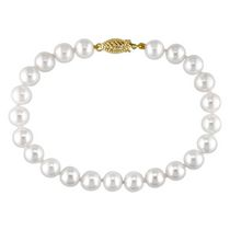 Miabella 7-7.5mm White Cultured Freshwater Pearl 14K Yellow Gold Strand Bracelet