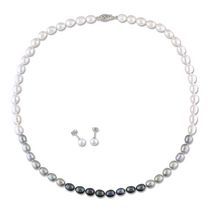 6-7mm Multi-Color Button Freshwater Cultured Pearl 14K White Gold Set of Strand Necklace and Stud Earrings