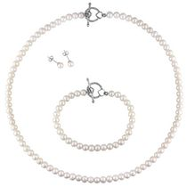 Miabella 5-6mm White Freshwater Cultured Pearl Sterling Silver Set of Strand Necklace; Bracelet and Stud Earrings