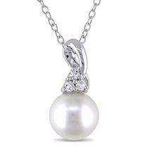 Miabella 8-8.5mm White Round Cultured Freshwater Pearl and Diamond Accent Sterling Silver Fashion Pendant