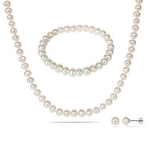 Miabella 6-7mm White Freshwater Cultured Pearl Brass Set of Strand Necklace; Elastic Bracelet and Stud Earrings