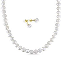 Miabella 7-8mm White Freshwater Cultured Pearl Brass Set of Strand Necklace and Stud Earrings