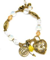 Stretch Charm Bracelet in Antique Gold
