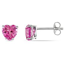 Miadora 2 Carat T.G.W. Created Pink Sapphire 10 K White Gold Heart Stud Earrings