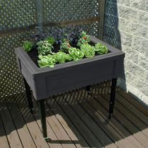 RTS Home Accents Garden Table with Adjustable Legs with Casters Graphite