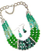 Three Layer Crystal Necklace in Green