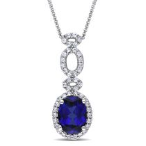 Tangelo 2.50 Carat Created Blue and White Sapphire Sterling Silver Oval Design Pendant