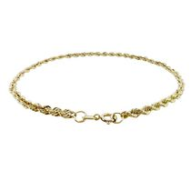 10Kt Yellow Gold 2.5mm Hollow Rope Chain Bracelet