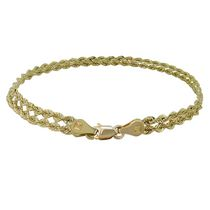 10Kt Yellow Gold 2 Row Hollow Rope Link Bracelet