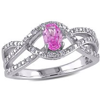 Miadora 0.60 Carat T.G.W Created Pink Sapphire and 0.17 Carat T.W Diamond Sterling Silver Cross Over Engagement Ring 7