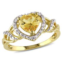 Miadora 1 Carat T.G.W. Yellow Beryl and Diamond-Accent Yellow Rhodium-Plated Sterling Silver Heart Ring