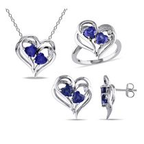 Tangelo 4.60 Carat T.G.W Created Blue Sapphire with Diamond Accent Sterling Silver Set of Heart Pendant; Ring and Earrings 5