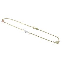 "10kt Yellow Gold 9"" Three Puffed Heart Station Glitter Chain Link Anklet with 1"" Extender"