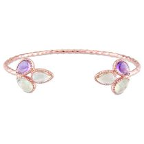 Tangelo 3.60 Carat T.G.W. Multi-Gemstone Rose Rhodium-Plated Sterling Silver Cuff Flower Design Bangle