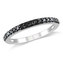 0.25 Carat T.W Black Diamond 10 K White Gold Eternity Anniversary Ring 4.5