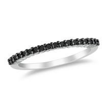 0.20 Carat T.W. Black Diamond 10 K White Gold Anniversary Ring 4.5