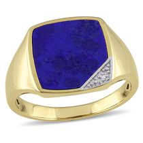 Miadora Men's 2.60 Carat T.G.W Lapis and Diamond Accent Yellow Rhodium Plated Sterling Silver Ring 13