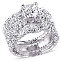 Miabella 4.21 ct Created White Sapphire Sterling Silver Bridal Set 7