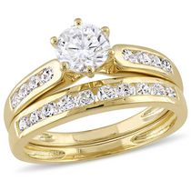 Miabella 2.60 ct Cubic zirconia Yellow Rhodium Plated Sterling Silver Bridal Set 7