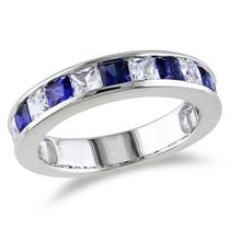 Tangelo 2.38 Carat T.G.W. Princess-Cut Created Blue and White Sapphire Sterling Silver Semi-Eternity Ring 6