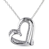Miabella Diamond Accent Sterling Silver Double-Heart Pendant, 18""