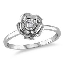 Miabella Diamond Accent Sterling Silver Flower Ring 6.5