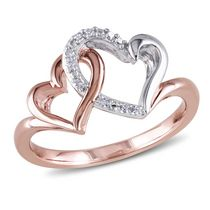 Miabella Diamond-Accent Two-Tone Sterling Silver Double Heart Ring 7.0