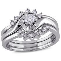 Miabella 0.25 Carat T.W. Diamond 14 K White Gold Bridal Set 5.5