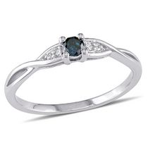 0.14 Carat T.W. Blue and White Diamond 10 K White Gold Cross-Over Promise Ring 10
