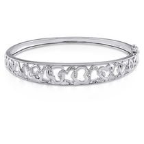 "Miabella Diamond-Accent Sterling 7"" Silver Heart Bangle"
