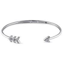 "Miabella Diamond-Accent Sterling 7"" Silver Cuff Arrow Bangle Bracelet"