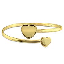 "Yellow Rhodium-Plated Sterling 7"" Silver Double Heart Cuff Bangle"