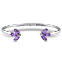 "Tangelo 2 Carat T.G.W. Amethyst and White Topaz Sterling 7"" Silver Cuff Bangle Bracelet"