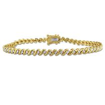 "Miabella 0.50 Carat T.W. Diamond Yellow Rhodium-Plated Sterling 7.5"" Silver Tennis Bracelet"