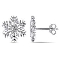 Boucles d'oreille en forme de flocons de neiges Miabella avec accents de diamants en argent sterling