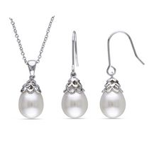 Miabella 9-10mm White Cultured Freshwater Pearl Silvertone Hook Earring and 18-inch Pendant Set